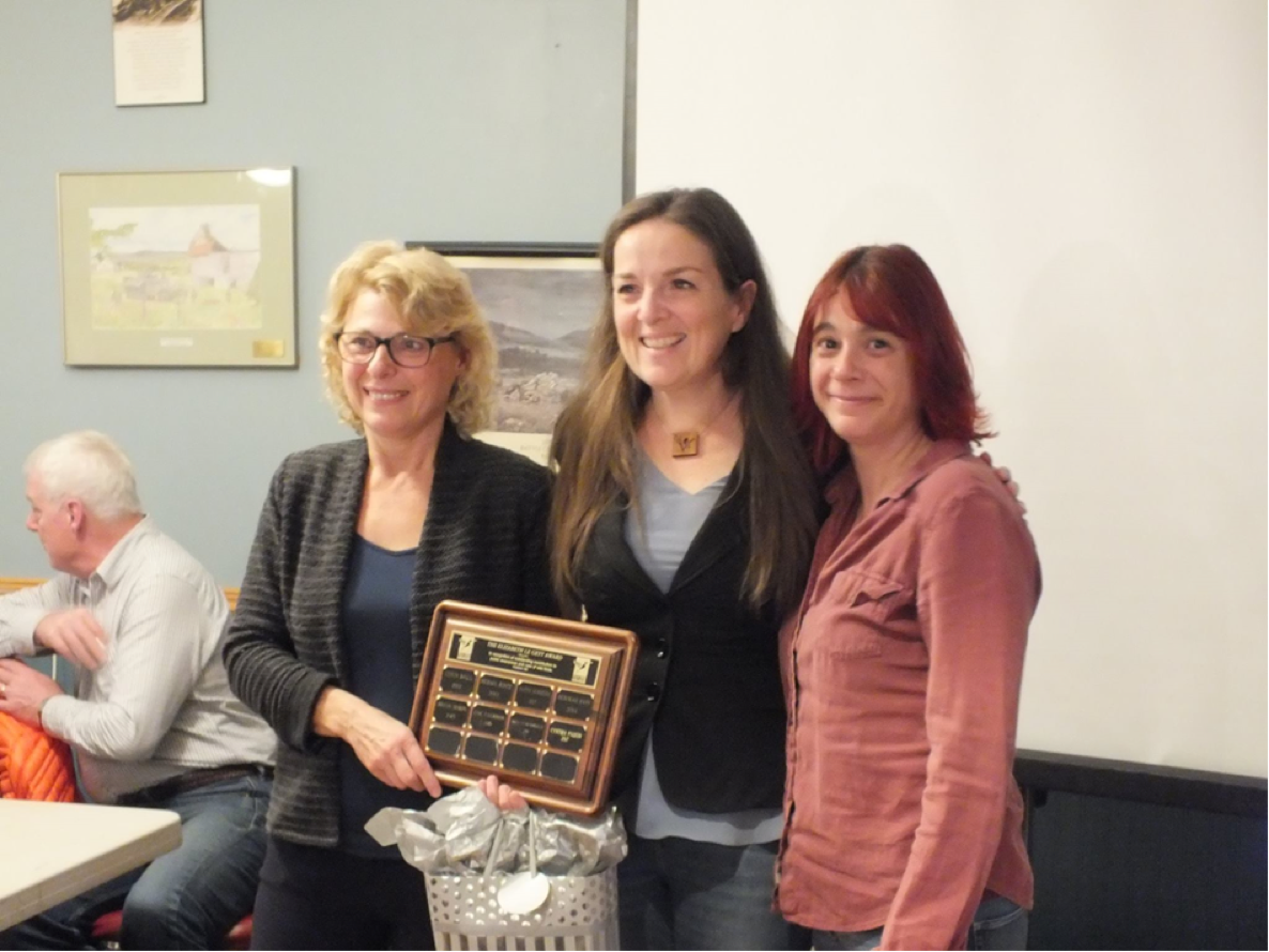 Cynthia Paquin received the Elizabeth Le Geyt Award on November 25, 2017.